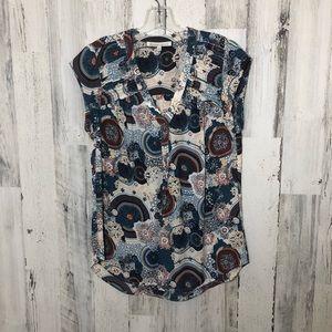 Daniel Rainn Sz Medium Blue/Rust Print Blouse EUC